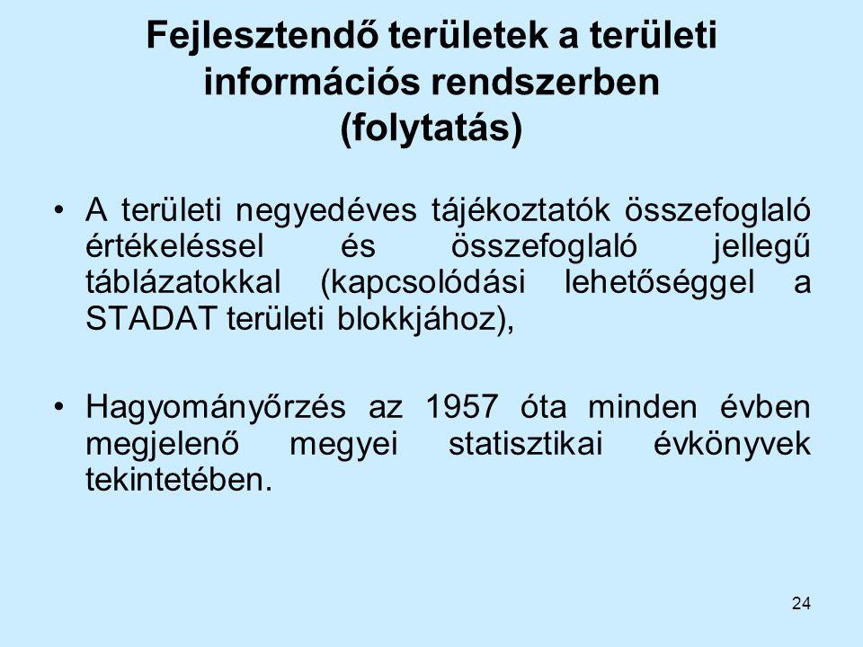 Fejlesztendő területek a területi információs rendszerben (folytatás)