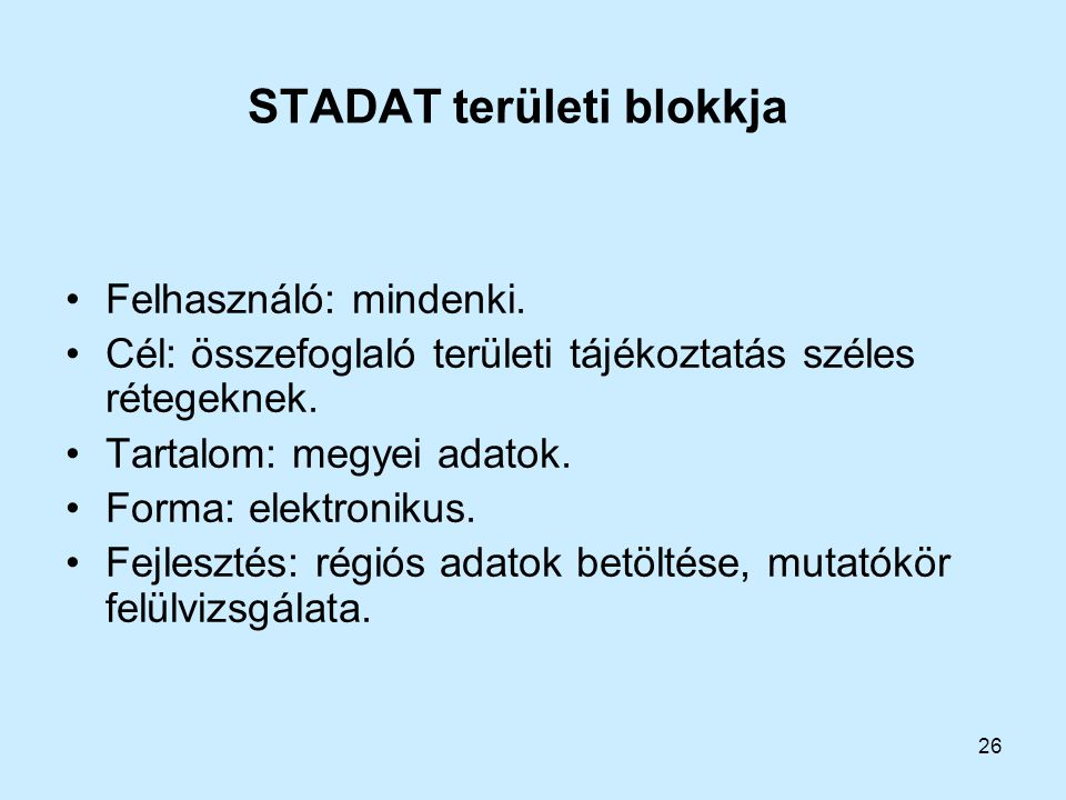 STADAT területi blokkja