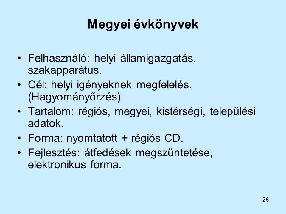 Megyei évkönyvek Felhasználó: helyi államigazgatás, szakapparátus.