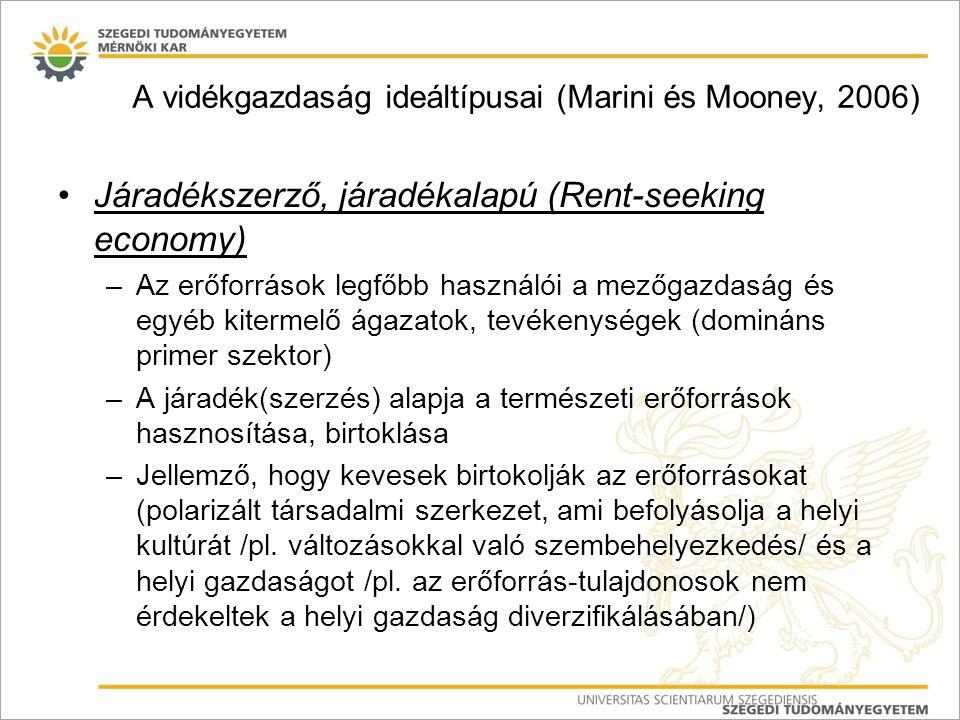 A vidékgazdaság ideáltípusai (Marini és Mooney, 2006)