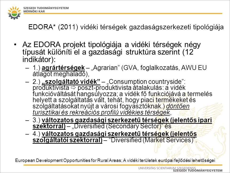 EDORA* (2011) vidéki térségek gazdaságszerkezeti tipológiája