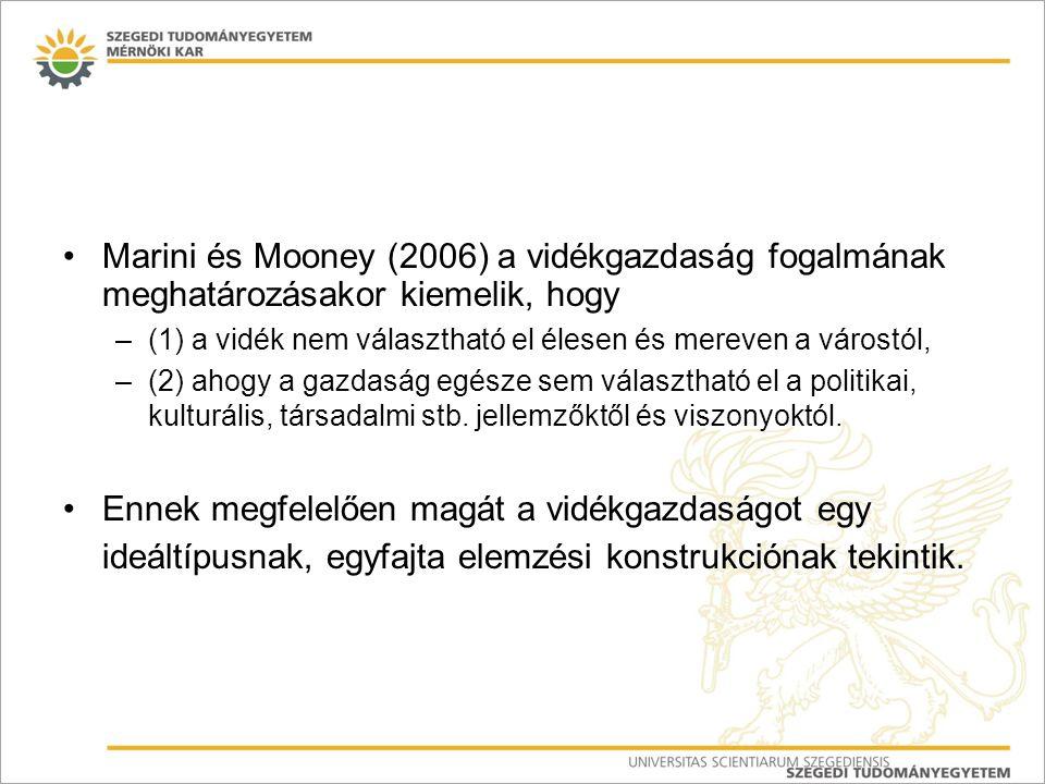 Marini és Mooney (2006) a vidékgazdaság fogalmának meghatározásakor kiemelik, hogy