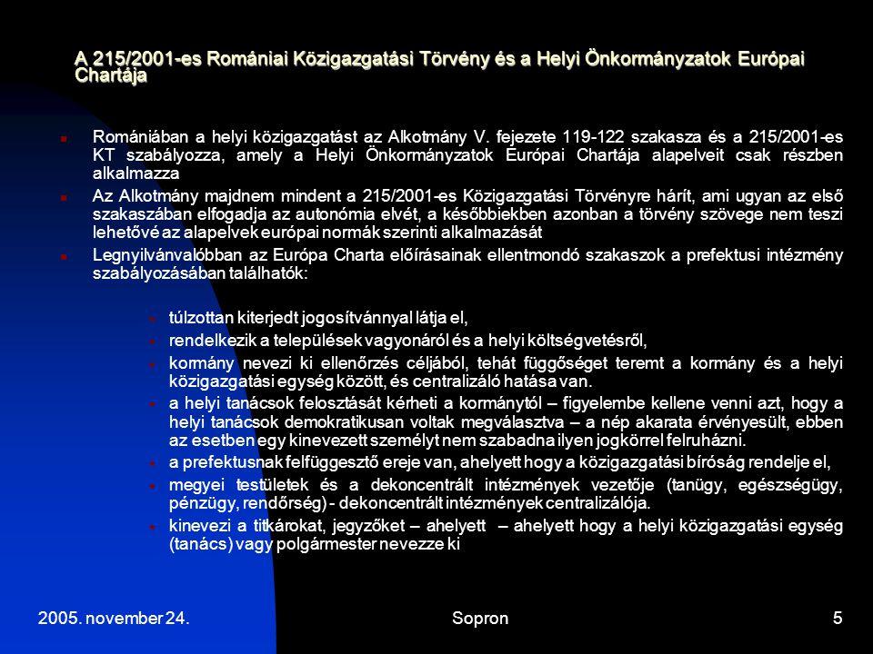 A 215/2001-es Romániai Közigazgatási Törvény és a Helyi Önkormányzatok Európai Chartája