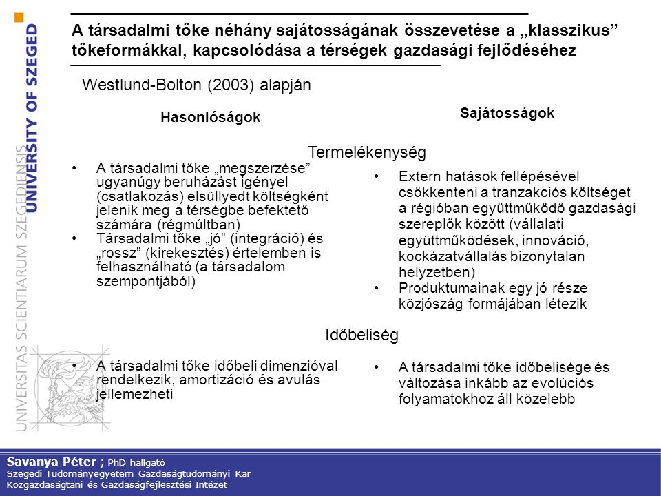 Westlund-Bolton (2003) alapján