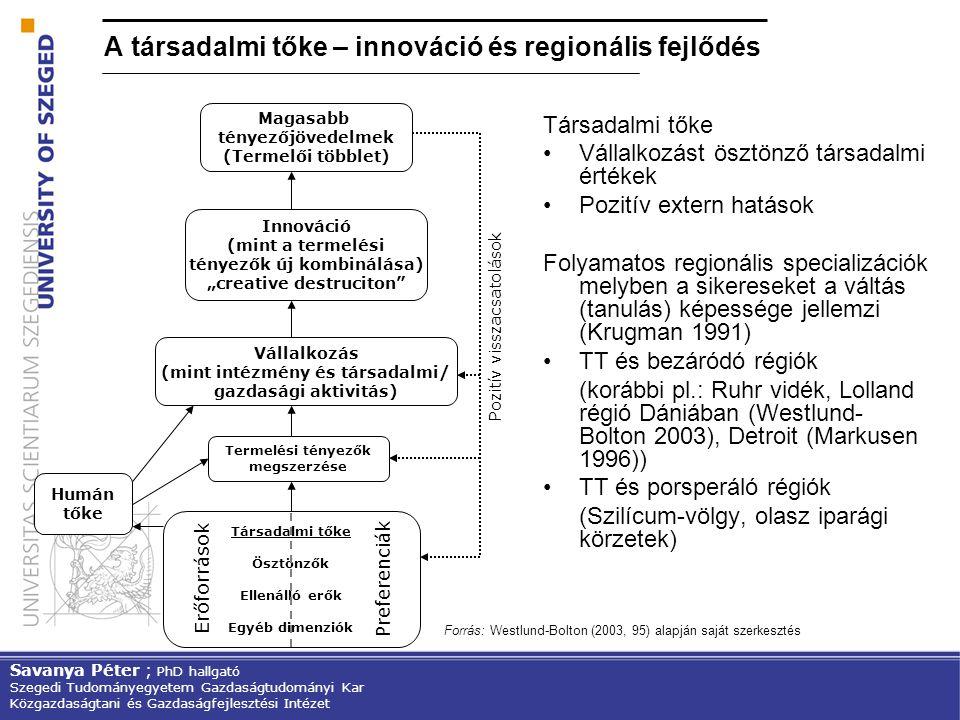 A társadalmi tőke – innováció és regionális fejlődés