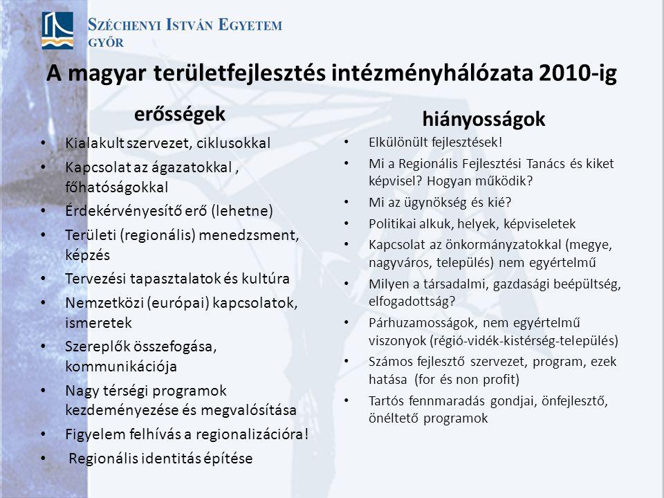 A magyar területfejlesztés intézményhálózata 2010-ig