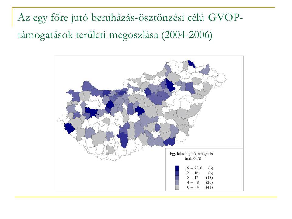 Az egy főre jutó beruházás-ösztönzési célú GVOP-támogatások területi megoszlása (2004-2006)