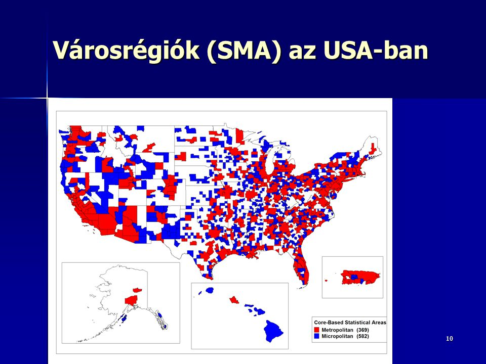Városrégiók (SMA) az USA-ban