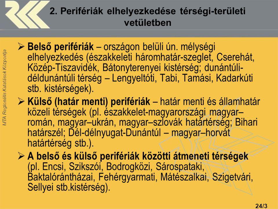 2. Perifériák elhelyezkedése térségi-területi vetületben