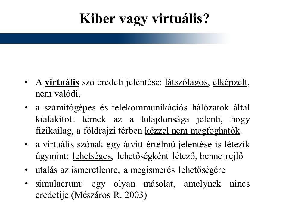 Kiber vagy virtuális A virtuális szó eredeti jelentése: látszólagos, elképzelt, nem valódi.