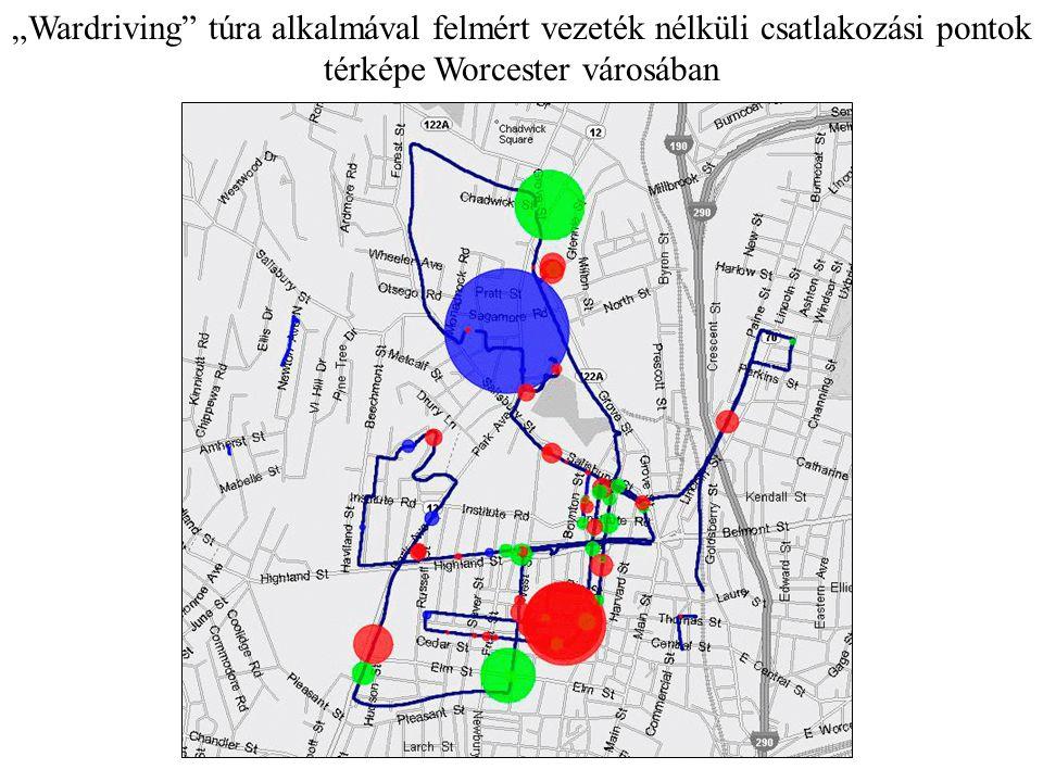 """""""Wardriving túra alkalmával felmért vezeték nélküli csatlakozási pontok térképe Worcester városában"""
