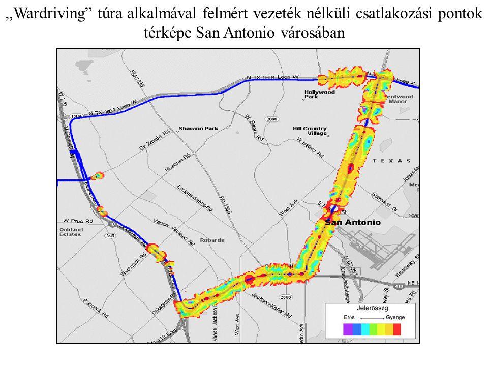 """""""Wardriving túra alkalmával felmért vezeték nélküli csatlakozási pontok térképe San Antonio városában"""