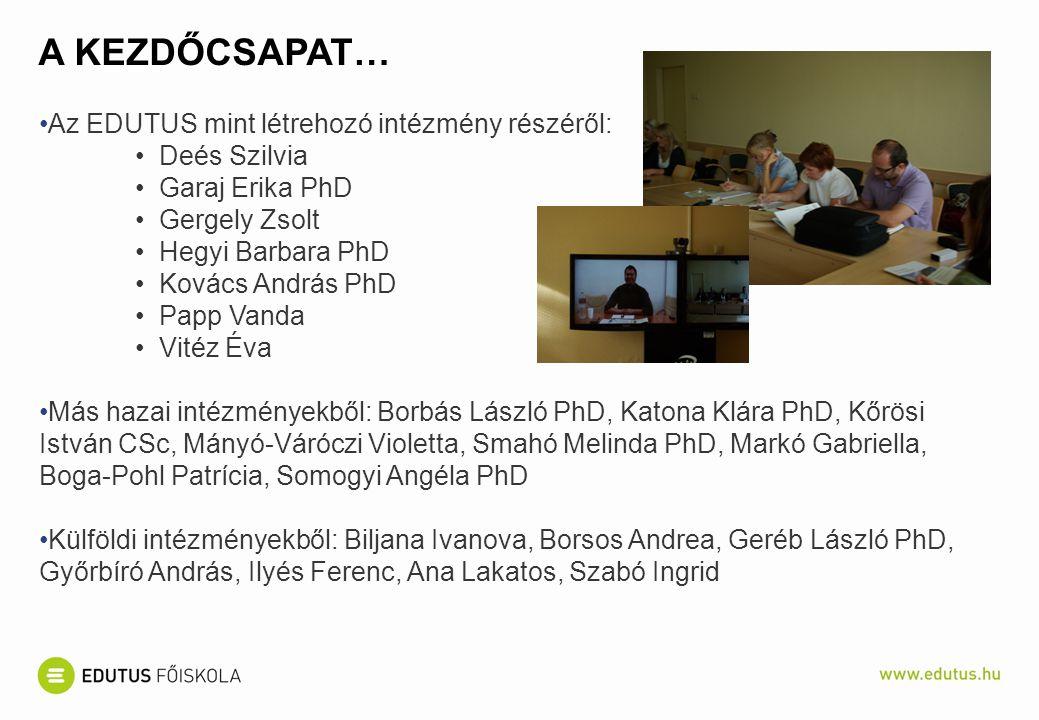 A KEZDŐCSAPAT… Az EDUTUS mint létrehozó intézmény részéről: