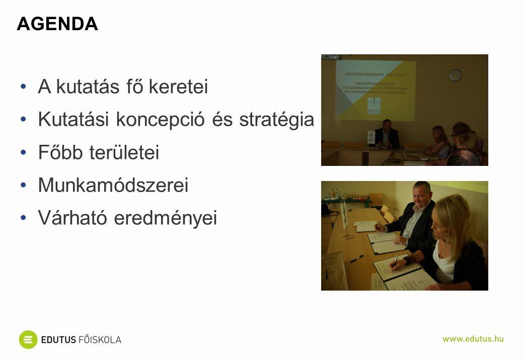 Kutatási koncepció és stratégia Főbb területei Munkamódszerei