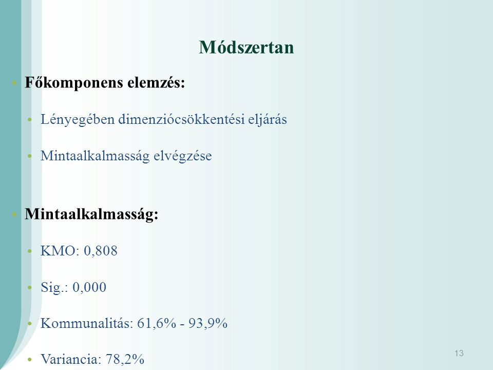 Módszertan Főkomponens elemzés: Mintaalkalmasság: