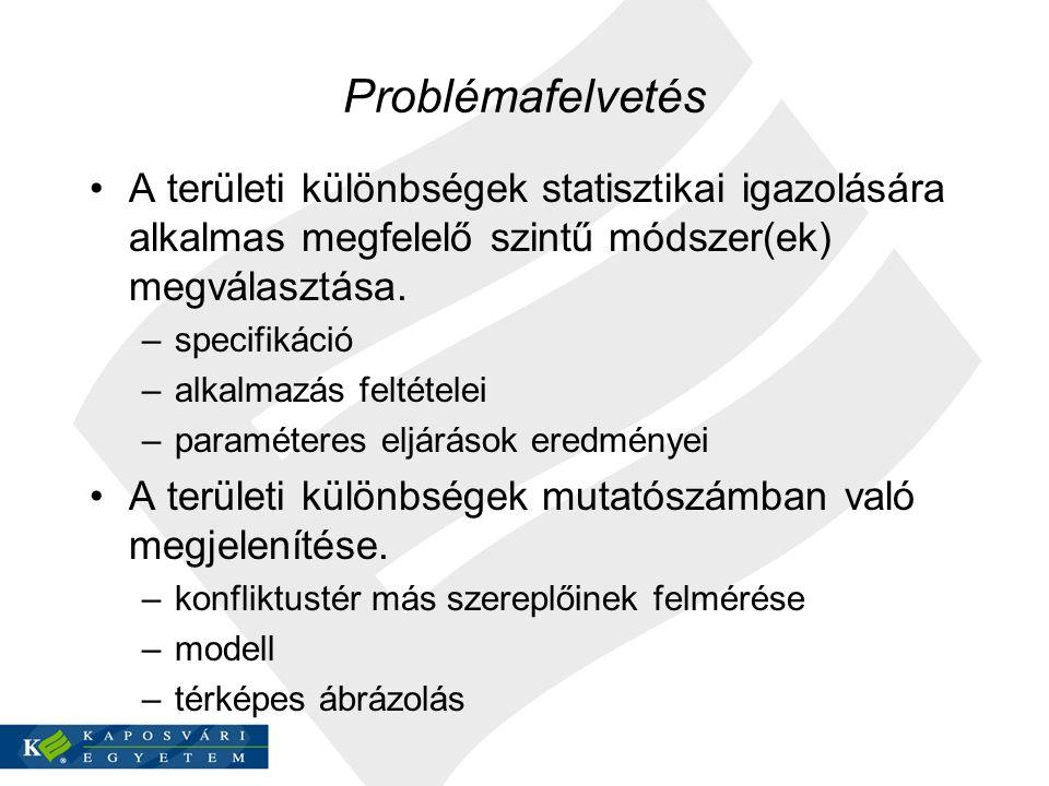 Problémafelvetés A területi különbségek statisztikai igazolására alkalmas megfelelő szintű módszer(ek) megválasztása.