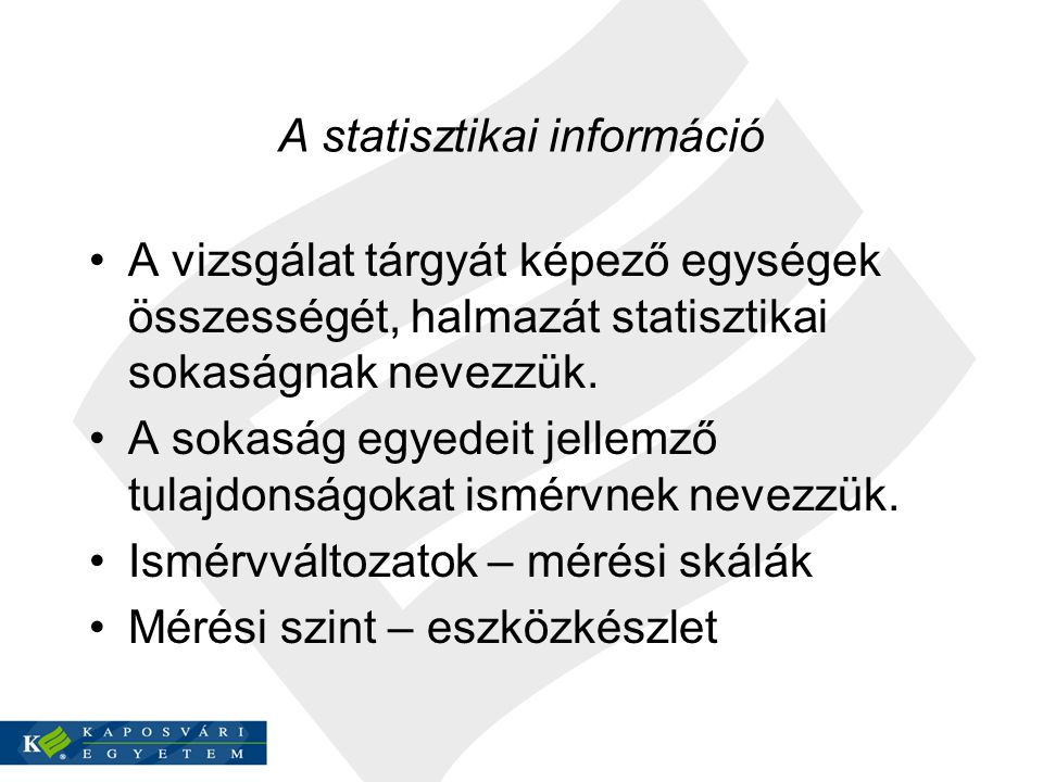 A statisztikai információ