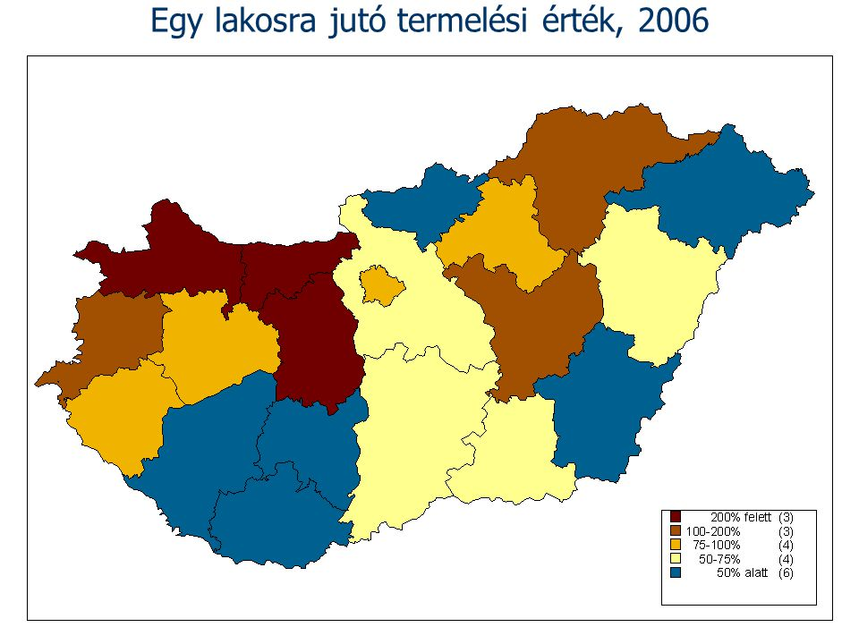 Egy lakosra jutó termelési érték, 2006