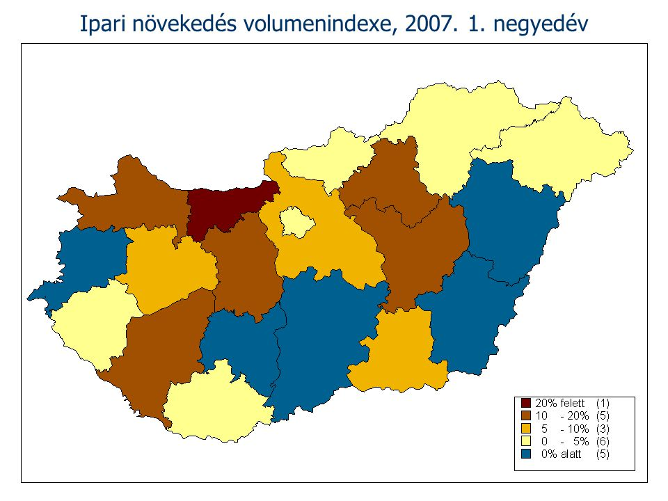 Ipari növekedés volumenindexe, 2007. 1. negyedév