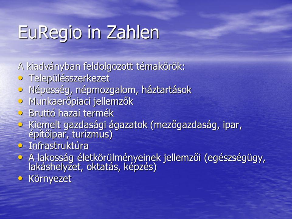 EuRegio in Zahlen A kiadványban feldolgozott témakörök: