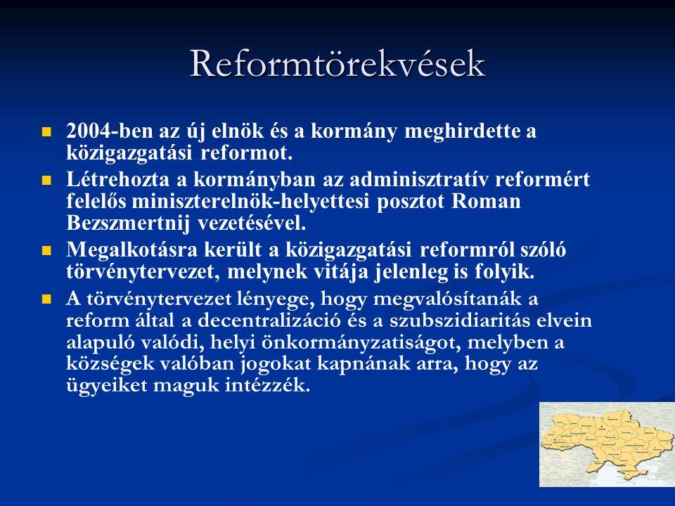 Reformtörekvések 2004-ben az új elnök és a kormány meghirdette a közigazgatási reformot.