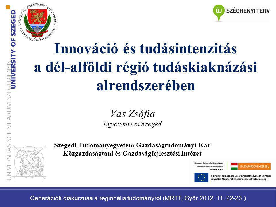 Innováció és tudásintenzitás a dél-alföldi régió tudáskiaknázási alrendszerében