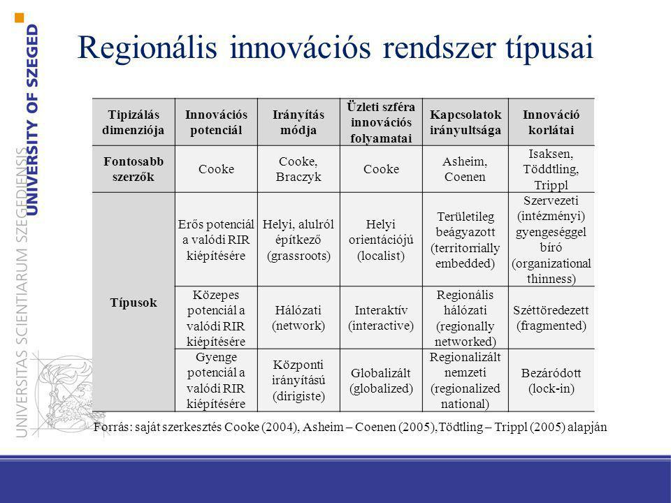 Regionális innovációs rendszer típusai