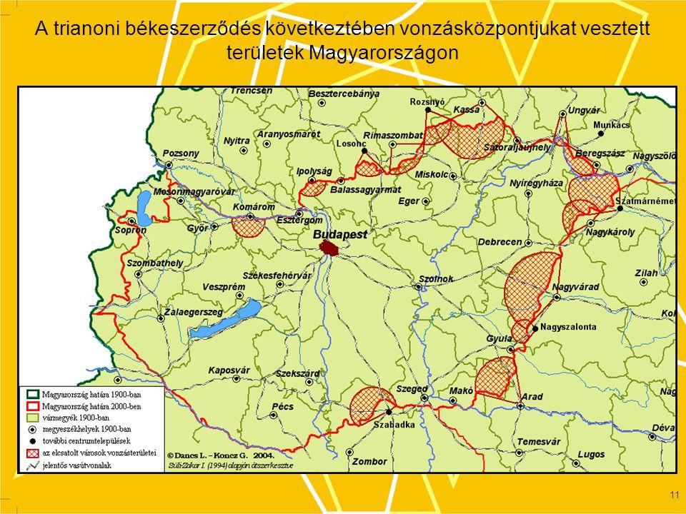 A trianoni békeszerződés következtében vonzásközpontjukat vesztett területek Magyarországon