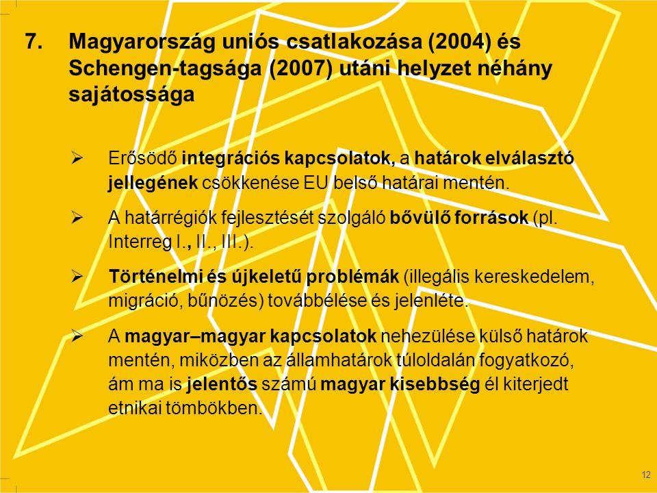 7. Magyarország uniós csatlakozása (2004) és Schengen-tagsága (2007) utáni helyzet néhány sajátossága