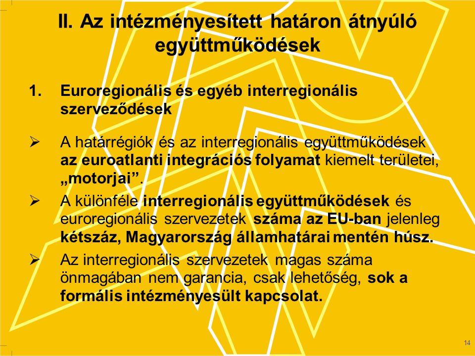 II. Az intézményesített határon átnyúló együttműködések