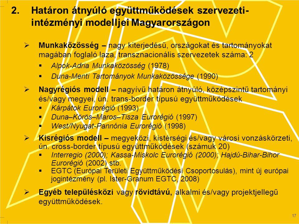 2. Határon átnyúló együttműködések szervezeti- intézményi modelljei Magyarországon