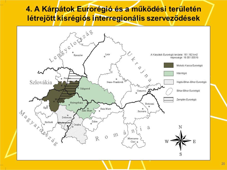 4. A Kárpátok Eurorégió és a működési területén létrejött kisrégiós interregionális szerveződések