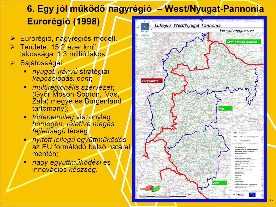 6. Egy jól működő nagyrégió – West/Nyugat-Pannonia Eurorégió (1998)