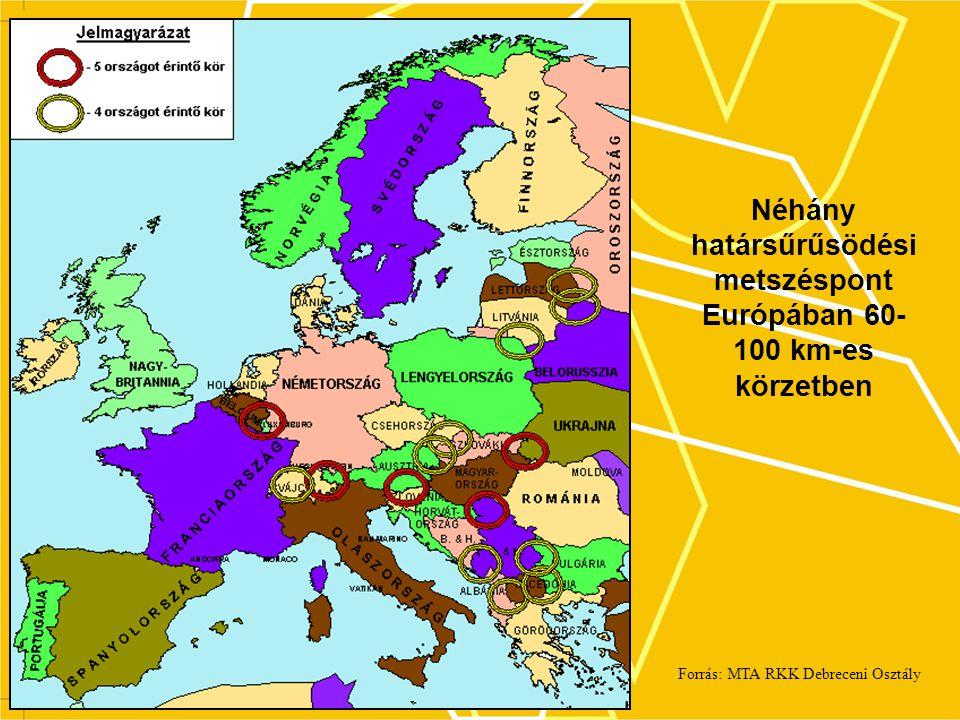 Néhány határsűrűsödési metszéspont Európában 60-100 km-es körzetben