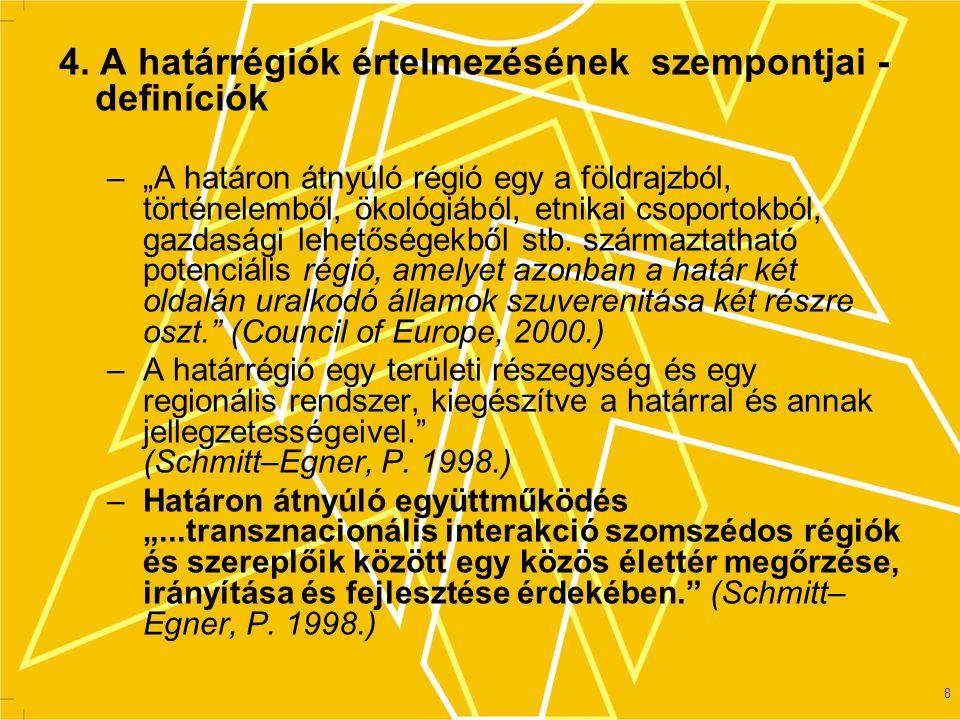 4. A határrégiók értelmezésének szempontjai - definíciók