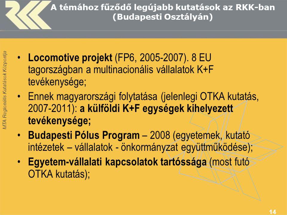 A témához fűződő legújabb kutatások az RKK-ban (Budapesti Osztályán)