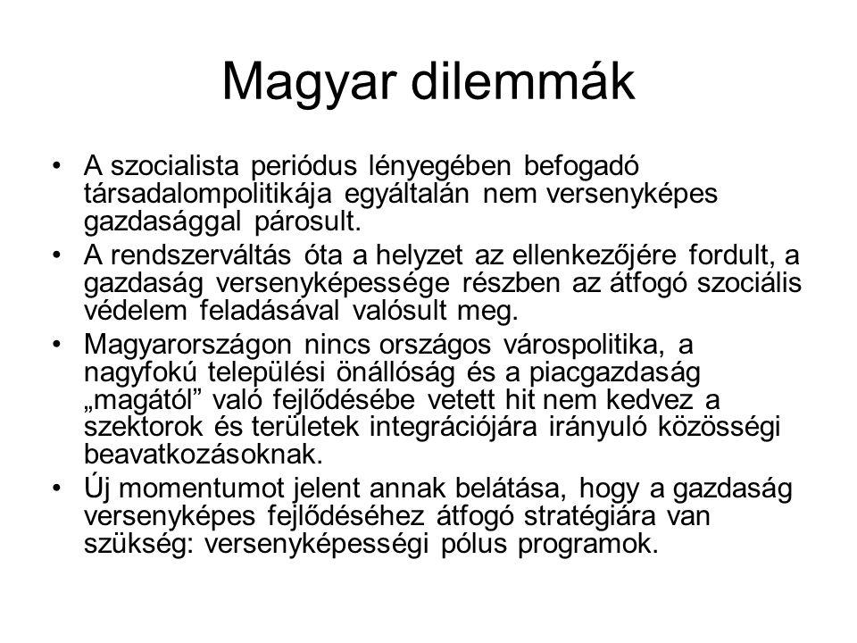 Magyar dilemmák A szocialista periódus lényegében befogadó társadalompolitikája egyáltalán nem versenyképes gazdasággal párosult.