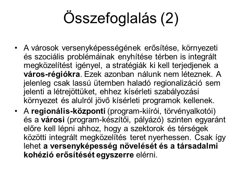 Összefoglalás (2)