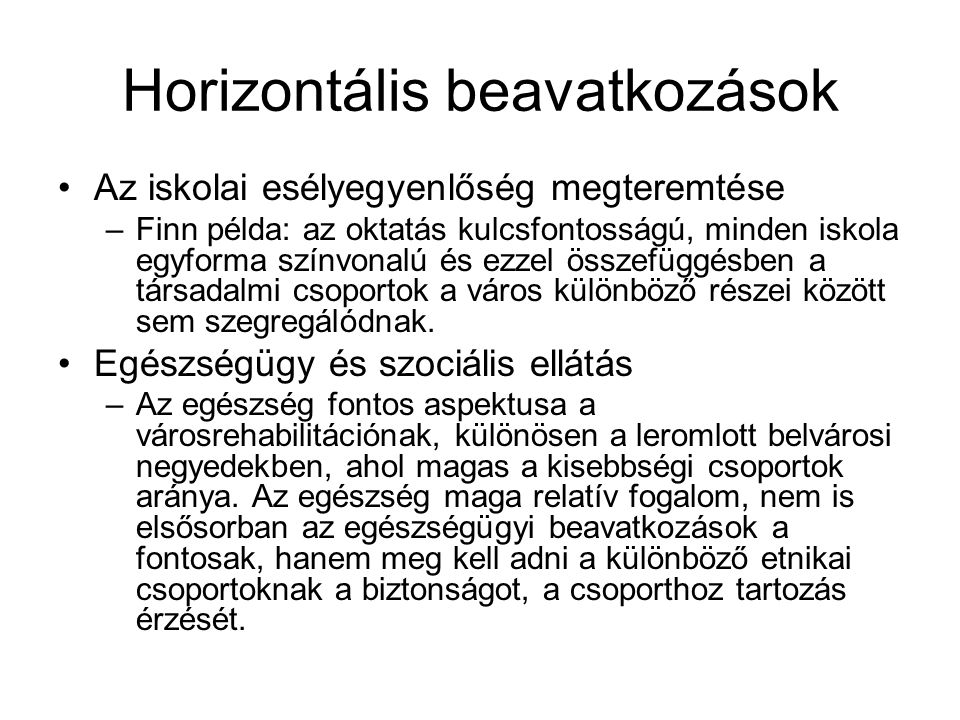 Horizontális beavatkozások
