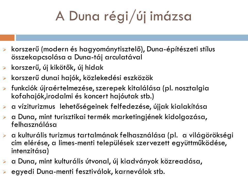 A Duna régi/új imázsa korszerű (modern és hagyománytisztelő), Duna-építészeti stílus összekapcsolása a Duna-táj arculatával.