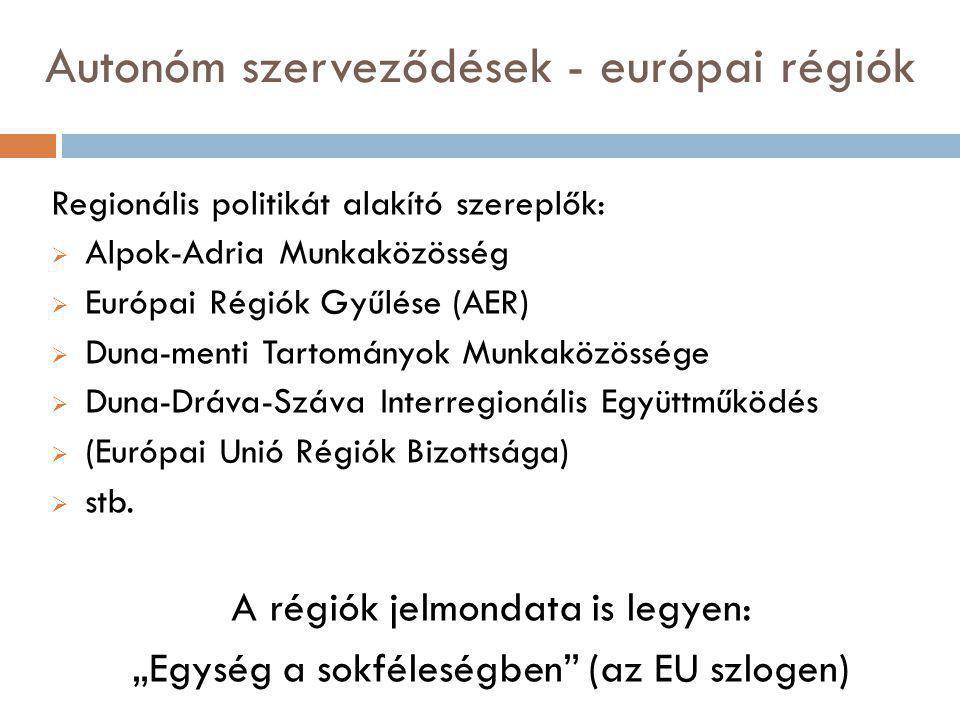 Autonóm szerveződések - európai régiók