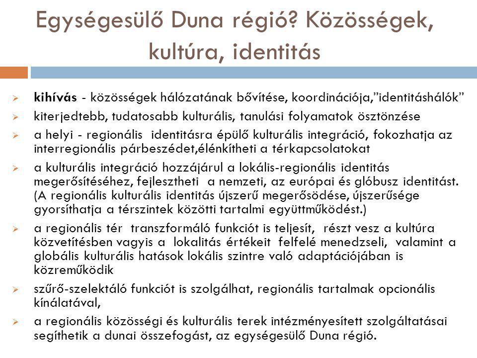 Egységesülő Duna régió Közösségek, kultúra, identitás