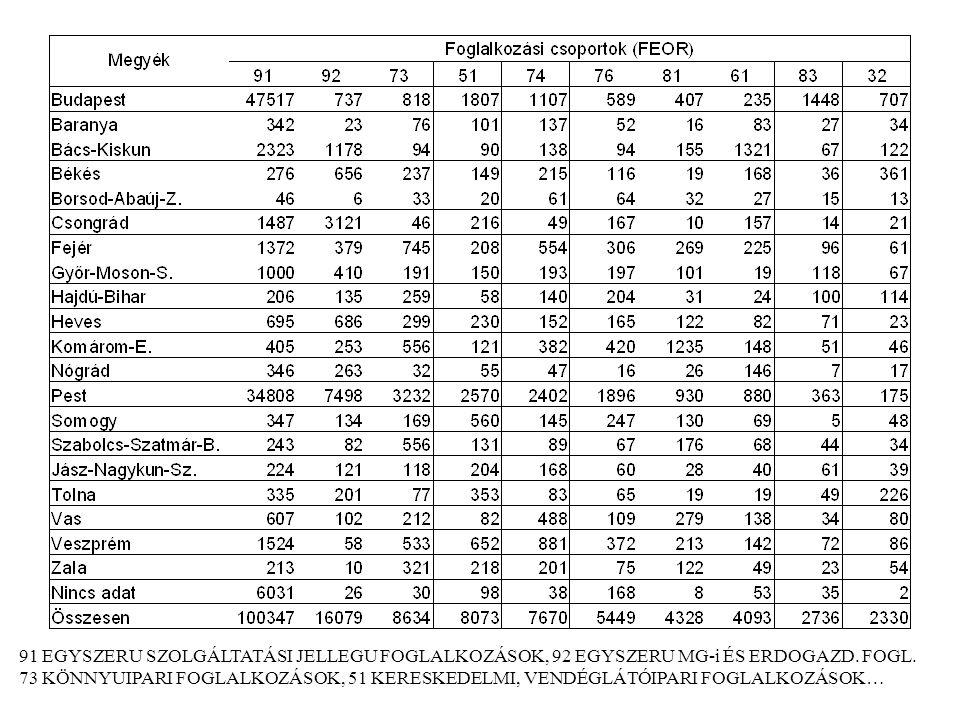 91 EGYSZERU SZOLGÁLTATÁSI JELLEGU FOGLALKOZÁSOK, 92 EGYSZERU MG-i ÉS ERDOGAZD. FOGL.
