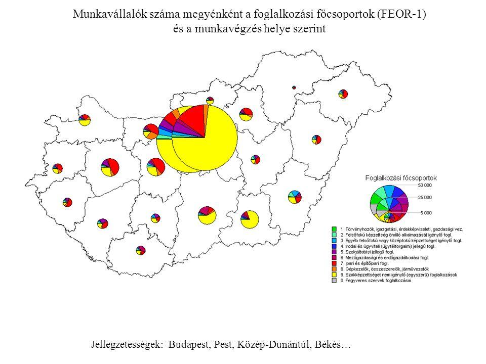 Munkavállalók száma megyénként a foglalkozási főcsoportok (FEOR-1)