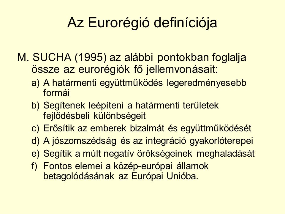 Az Eurorégió definíciója