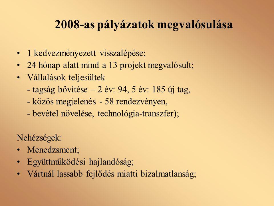 2008-as pályázatok megvalósulása