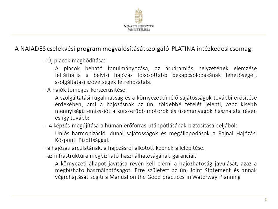 A NAIADES cselekvési program megvalósítását szolgáló PLATINA intézkedési csomag: