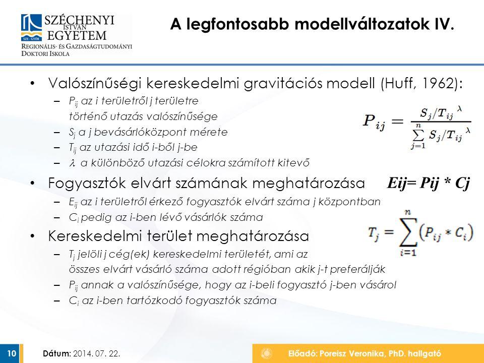 A legfontosabb modellváltozatok IV.