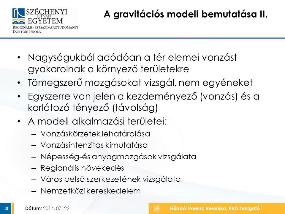 A gravitációs modell bemutatása II.