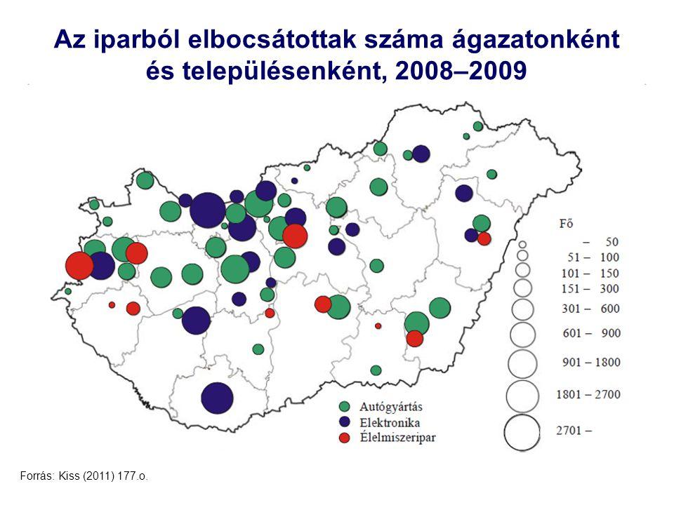 Az iparból elbocsátottak száma ágazatonként és településenként, 2008–2009